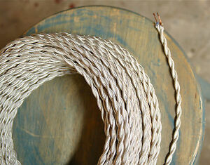 White Ivory Twisted Cloth Covered Wire, Vintage Lamp Cord, Antique Lights, Rayon