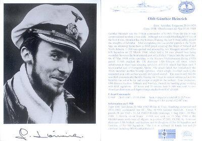 UB4 WWII WW2 U-boat Captain HEINRICH hand signed photo
