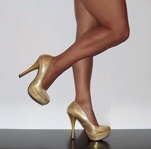 Womens-Shoes-Platform-Stiletto-Classic-High-Heel-Pumps-Gold-Sequin-Qupid-Neutral