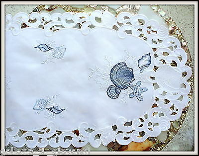 "TREASURES OF THE SEA  Lace Doily  43""  Table Runner  Nautical Ocean Seashell"