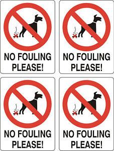 No-Dog-Fouling-sticker-X-4-10cmx8cm-sign-warning-self-adhesive-decal