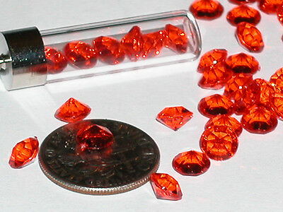25 Fun acrylic high luster Red diamond point crystals gems for bottles New 5.5mm