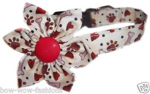 SPIFFY-POOCHES-Dog-Collar-PUPPY-LOVE-Hearts-Paws-Blossom-Flower-Puppy-Gear