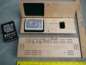 New-wood-cribbage-board-3-tracks-with-pegs-ROYAL-all-plastic-playing-cards-BLEM