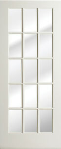 15 lite primed smooth mdf solid wood interior french doors for 15 panel solid wood door