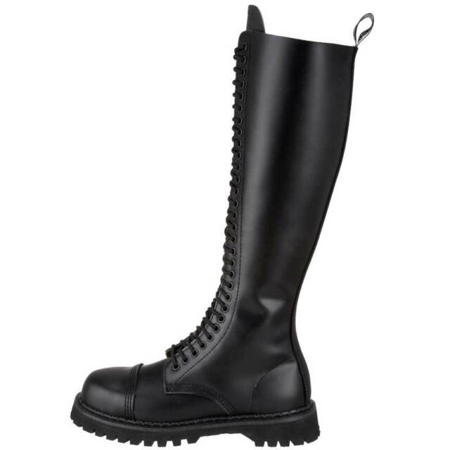 DEMONIA ROCKY-30 BLACK LEATHER MOTORCYCLE COMBAT POLICE KNEE BOOTS NEW