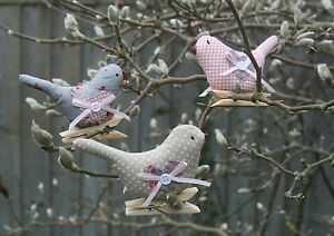 Image Is Loading Vintage Chic Style Shabby Fabric Bird Pegs Tree