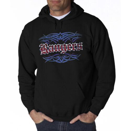 NEW Rangers Tattoo Style Black Hoodie Sweatshirt Texas S M L XL 2X 3X Men Women