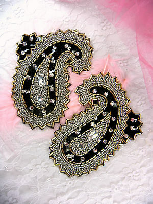 FS2632 ~ SEQUIN APPLIQUES PAISLEY MIRROR PAIR  ~ BEADED Sewing Crafts Motif