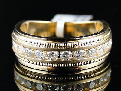 14K Mens Yellow Gold 8M Diamond Wedding Band Ring 1.0Ct