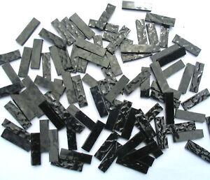 100-BLACK-Mosaic-Border-Tiles-25mm-x-6mm-Arts-Crafts