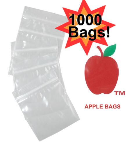 """1000 APPLE Zip ZipLock bag baggies CLEAR - 1.25""""x1.25"""""""