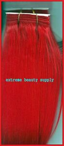RED-color-synthetic-weft-sew-weave-track-hair-extension