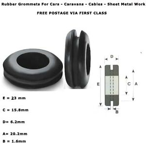 20mm-3-4-RUBBER-AUTOMOTIVE-CABLE-WIRING-OPEN-GROMMETS-RING-ELECTRICAL-10-PCS