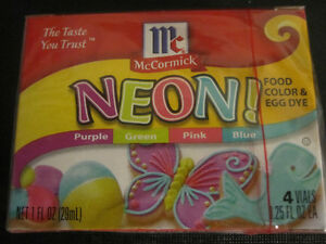 Assorted Neon food coloring McCormick 4pk purple green pink blue ...
