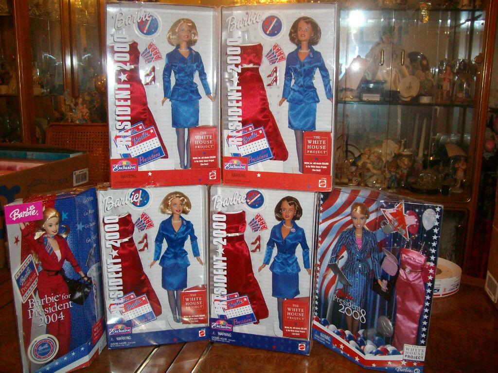 Lote de 6 Barbie para presidente 2000 - 2004-2008 retirado