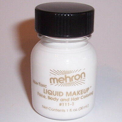 (2) White Body Hair Liquid Makeup Mehron Face Paint Color Costume Painting