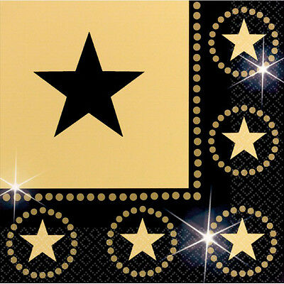 HOLLYWOOD Napkins Star Attraction Oscars Movie Film Party Tableware Black & Gold