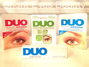 DUO-EYELASH-ADHESIVE-GLUE-DARK-CLEAR-LARGE-SMALL-7g-14g-BRUSH-ON-FRESH-STOCK