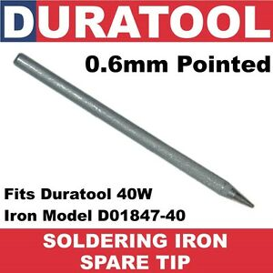 0-6mm-Pointed-Soldering-Iron-Spare-Tip-for-40W-Duratool-also-fits-Maplin-N38AC