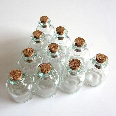 22 x 28 mm Wholesale Lot 10 Pcs Small Empty Clear Cork Glass Bottles Vials 4.0ml