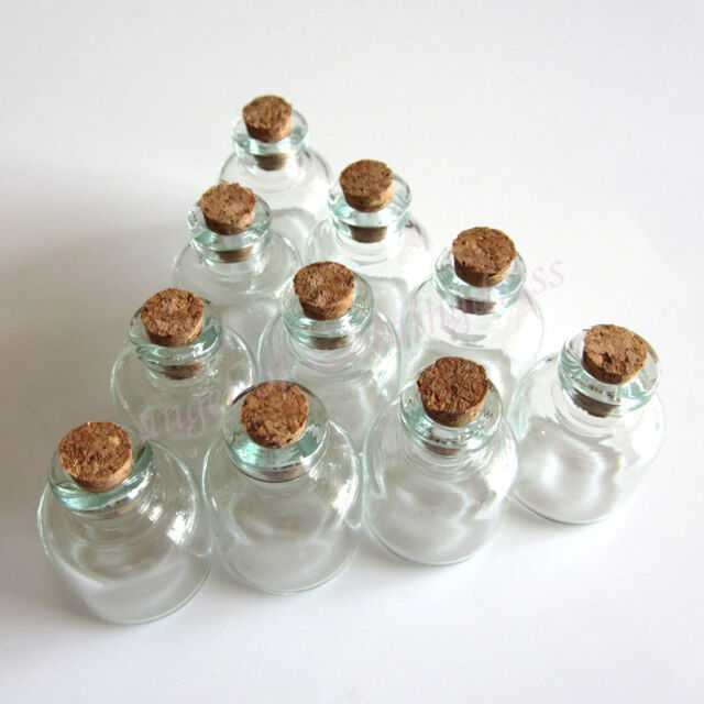 22 x 28 mm Wholesale Lot 10 Pcs Small Empty Clear Cork Glass Bottles Vials 4.0ml