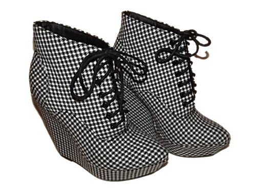 NEW LADIES Ex-STORE BLACK & WHITE CHECK POINTED PLATFORM WEDGE SHOE BOOTS SZ 3-8