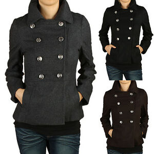 Chic-Modern-Tailored-Smooth-Wool-Blend-Peacoat-Double-breasted-Jackets-S-3X-NEW