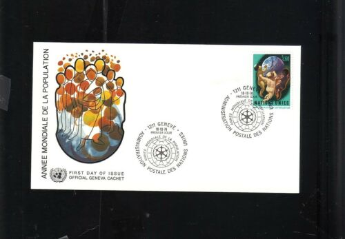 FIRST DAY ISSUE 1974 GENEVA UNITED NATIONS STAMP ANNEE MONDIALE POPULATION