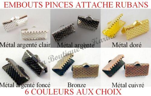 BIJOUX 30 EMBOUTS PINCES ATTACHE RUBANS 13x7 METAL ARGENTE DORE BRONZE CUIVRE