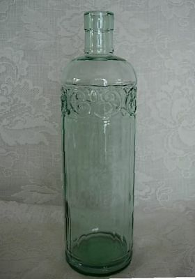 Light Green Pressed Glass Bottle - Made in Canada