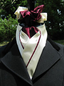 Ready Tied Faux Silk Rich Cream amp Burgundy Dressage Riding Stock amp Scrunchie - Ammanford, Carmarthenshire, United Kingdom - Returns accepted - Ammanford, Carmarthenshire, United Kingdom