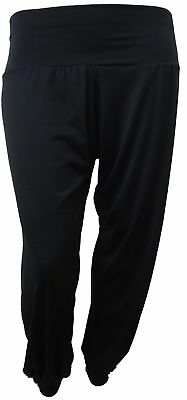 PLUS SIZE BLACK PLAIN FULL HAREM TROUSER PANT 16-26 NEW