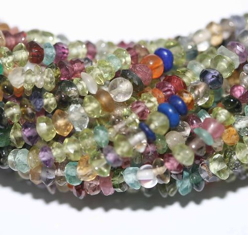 """14"""" St Precious Gems Mix Faceted  Roundels Beads  3mm"""