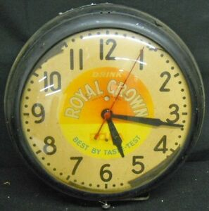 Original-1950-039-s-RC-Cola-Royal-Crown-Advertising-Clock-15-034-Works