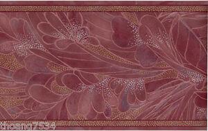 Tropical Burgundy Red Palm Leaf Floral Silk Reflective