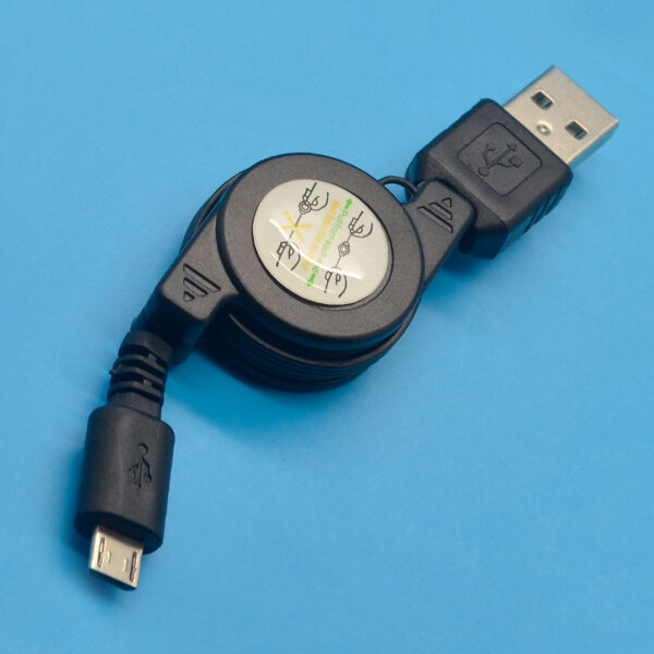 Hot Black Small Retractable USB Male to Micro USB 2.0 Charging Sync Data Cable