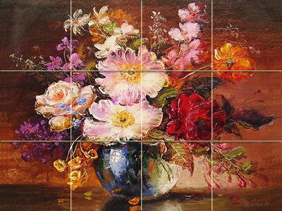 Art Colorful Flowers Vase Mural Ceramic Bath Backsplash Decor Tile #1200