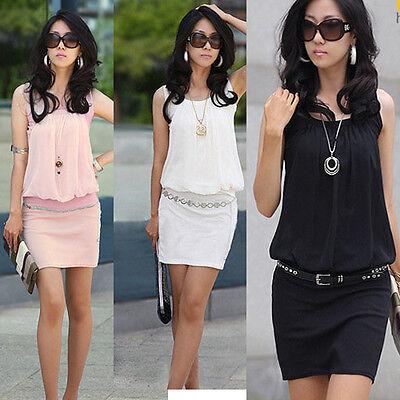 Fashion Sexy Women Lady Sleeveless Tunic Causal Mini Dress Skirt White Black New