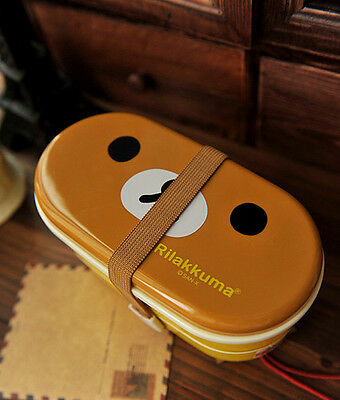 Rilakkuma San-X Cute Lunch Box Bento with Free Chopsticks High Heat Resistance