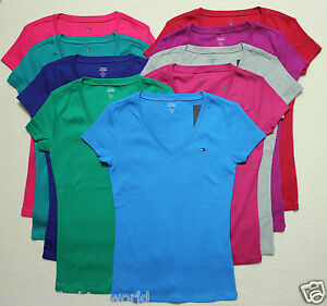 new tommy hilfiger women 39 s v neck short sleeve t shirt tee. Black Bedroom Furniture Sets. Home Design Ideas