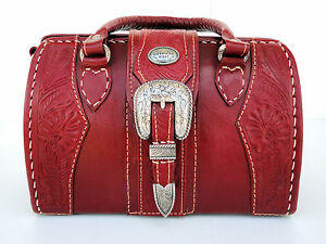 American-West-Red-Tooled-Leather-Handbag