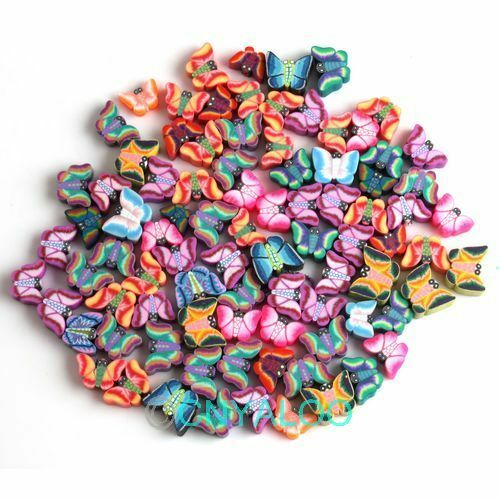 Bluk 50x Mix Colors Butterfly Clay Fimo Beads Jewellery Making DIY Kits 110852