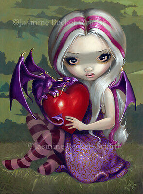 Jasmine Becket-Griffith art print SIGNED Valentine Dragon heart baby purple pop