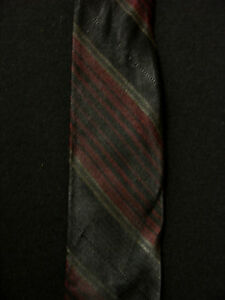 VINTAGE-1950S-1960S-SILK-NARROW-BLACK-RED-WHITE-TIE
