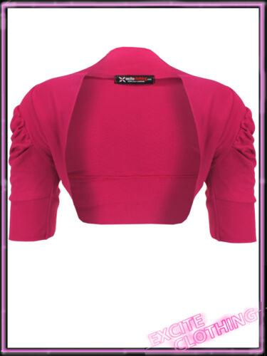 Womens Cotton Ruched Bolero Shrug Cardigan New Ladies Black White UK 8 10 12 14