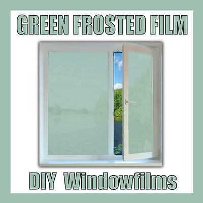 GREEN FROSTED GLASS PRIVACY DECORATIVE WINDOW FILM - 60cm Width Roll