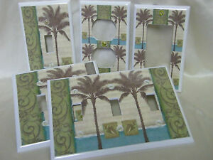 Tropical-Beach-Brown-Palm-Tree-Silhouette-Light-Switch-Cover-Plate-Outlet-Double