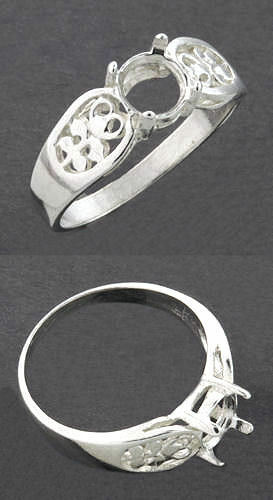 (5mm - 10mm) Round Filigree Sterling Silver .925 Ring Setting (Ring Size 7)