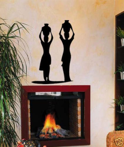 "33"" AFRICAN WOMAN BOWL HOME WALL ART VINYL DECAL STICKER AFRICA JUNGLE TRIBE"